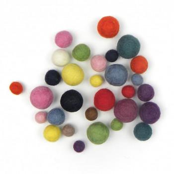 Plstěné kuličky barevný mix malý