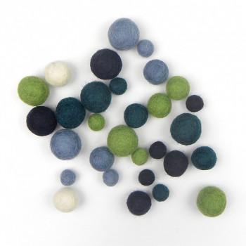 Plstěné kuličky -  mix studené barvy