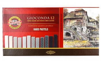 Tvrdé pastely Gioconda 12ks – šedé odstíny