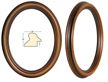 Masivní rám hnědý oválný – 18x24cm