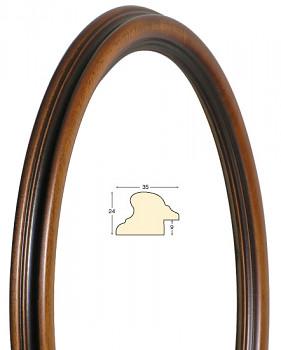 Masivní rám hnědý oválný – 30x40cm