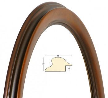 Masivní rám hnědý oválný – 40x50cm