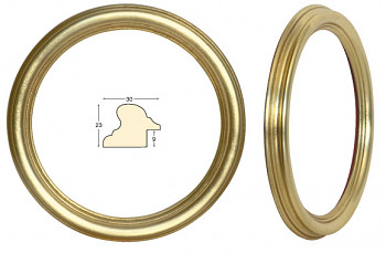 Masivní rám zlatý kulatý – průměr 20cm