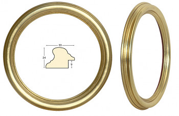 Masivní rám zlatý kulatý – průměr 30cm