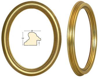 Masivní rám zlatý oválný – 18x24cm