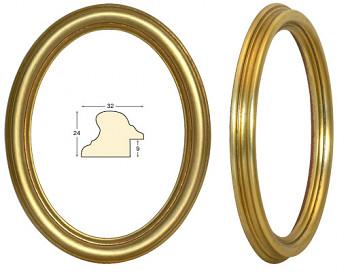 Masivní rám zlatý oválný – 24x30cm
