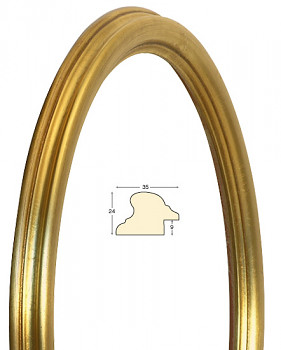 Masivní rám zlatý oválný – 30x40cm