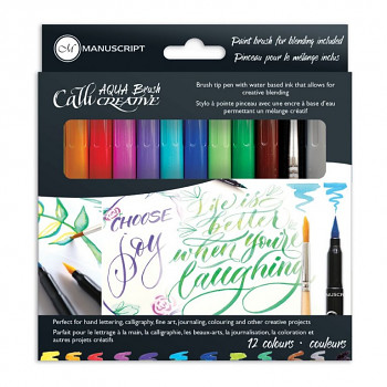 Akvarelové štětcové fixy Manuscript – set 12ks