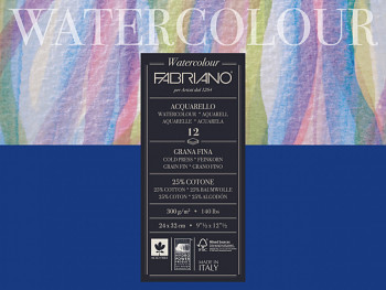Fabriano Watercolour 300g 18x24cm cold pressed, blok pro akvarel