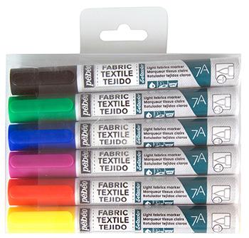 Sada markerů na světlý textil 7A 6ks - hrot 1mm