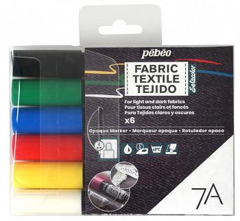 Sada markerů na textil 7A 6ks - základní barvy
