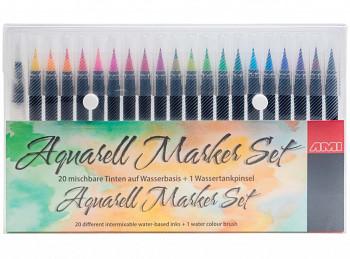 Sada štětečkových fixů na akvarelové bázi 20ks
