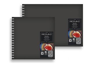 Blok s černými papíry Fabriano 190g A4 kroužková vazba