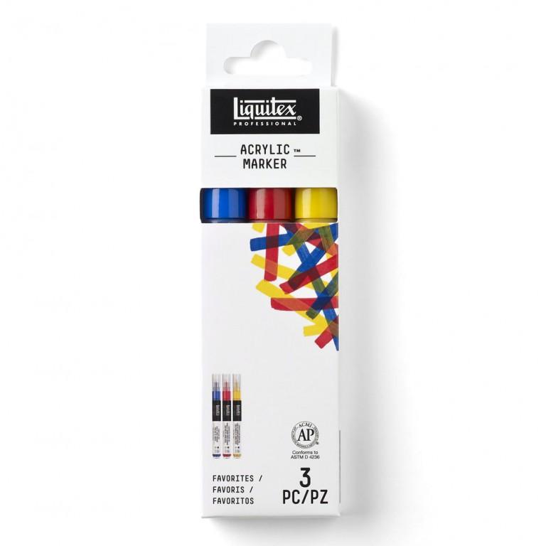 Sada akrylových markerů 3ks – základní odstíny