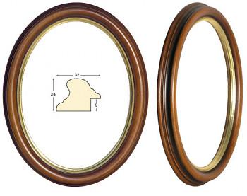 Oválný rám hnědý se zlatem – 24x30cm