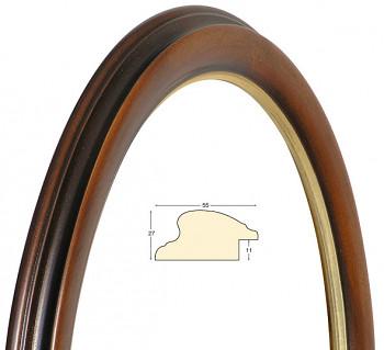 Oválný rám hnědý se zlatem – 50x70cm