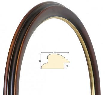 Kulatý rám hnědý se zlatem – průměr 40cm