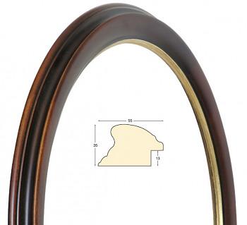 Kulatý rám hnědý se zlatem – průměr 60cm