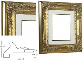 Blondelový rám barokní zlatý 18x24cm s krémovou filetou