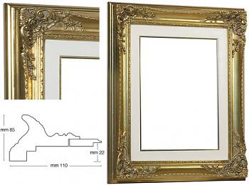 Blondelový rám barokní zlatý 30x40cm s krémovou filetou
