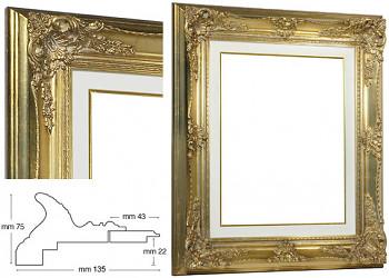Blondelový rám barokní zlatý 40x50cm s krémovou filetou