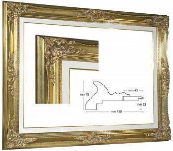 Blondelový rám barokní zlatý 60x120cm s krémovou filetou