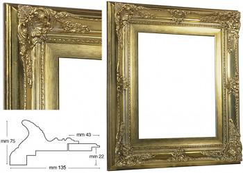 Blondelový rám barokní zlatý 40x50cm se zlatou filetou
