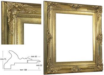 Blondelový rám barokní zlatý 50x60cm se zlatou filetou
