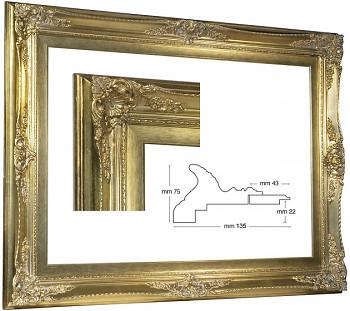 Blondelový rám barokní zlatý 70x100cm se zlatou filetou