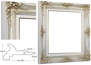 Blondelový rám barokní bílý 50x60cm