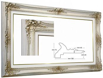Blondelový rám barokní bílý 60x120cm