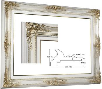 Blondelový rám barokní bílý 70x100cm