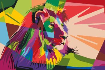 Malování podle čísel – barevný lev 40x60cm