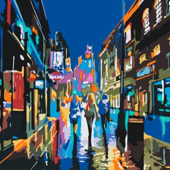 Malování podle čísel – abstrakce město 50x50cm