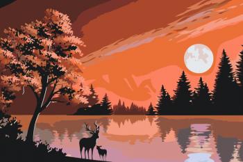 Malování podle čísel – jelen u jezera 40x60cm
