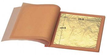 Zlatící plátky pravé zlato 22k 8x8cm 25ks