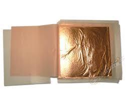 Plátkový kov - listy měď 14x14cm (100 plátků)