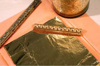 Plátkový kov - listy zlaté 2,5 16x16cm (100 plátků)