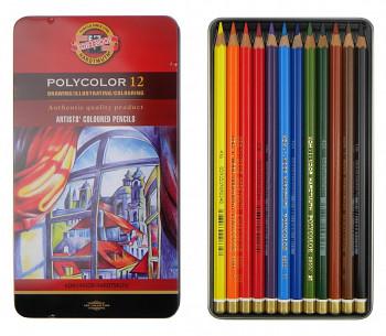 Sada pastelek Polycolor 12ks v plechovém obalu