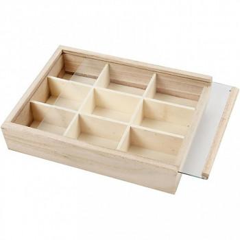 Krabička dělená s plexisklem dřevěná
