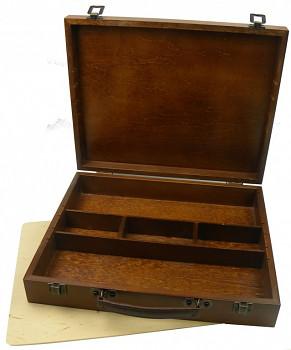 Luxusní dřevěný kufřík na barvy velký