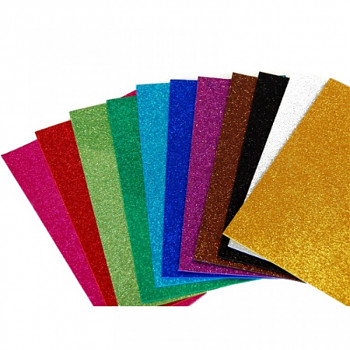 Pěnovka moosgummi třpytivá A4 - sada 10 barev