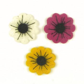 Plstěné kytičky barevné – 3ks